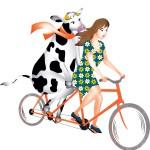 Op de tandem met een koe