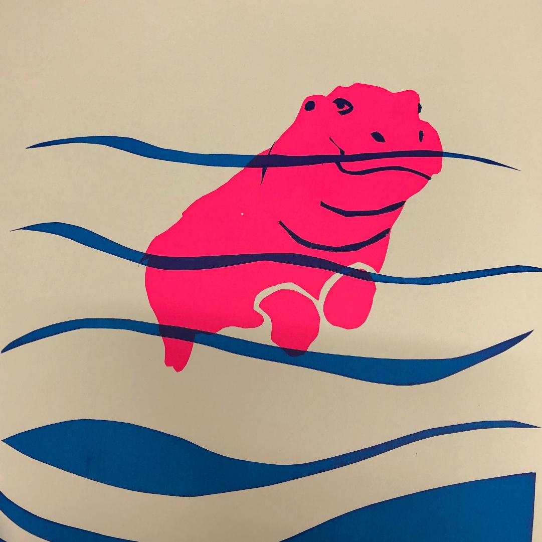 zeefdruk nijlpaard